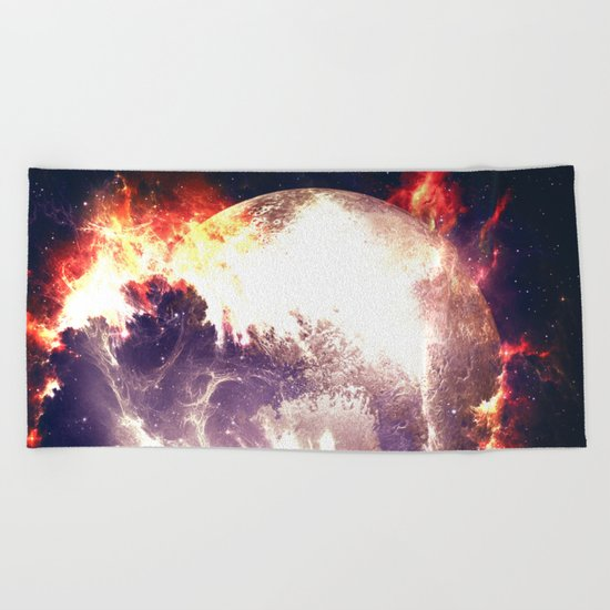 Burning Planet Beach Towel