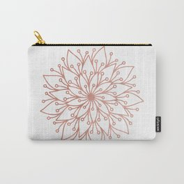Mandala Blooming Rose Gold on White Carry-All Pouch