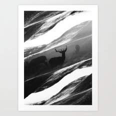 Oh Deer Black Art Print