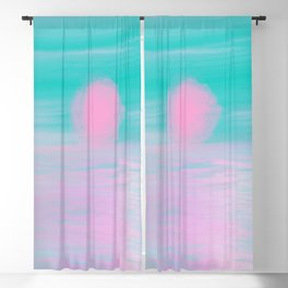 Abstract lavender teal pink watercolor sunset Blackout Curtain