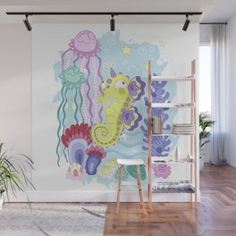 the Majestic Magical Seahorse Unicorn Wall Mural