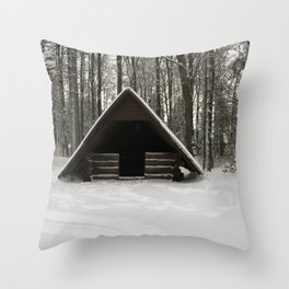 Log Hut In The Snow Throw Pillow