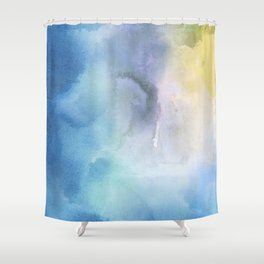 Navy blue teal lavender yellow watercolor brushstrokes Shower Curtain