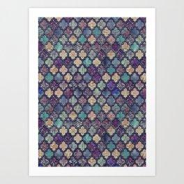 Moroccan Tile Design In Retro Colors Art Print