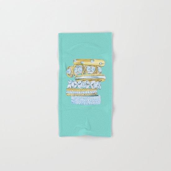 Golden Rings on Blue Hand & Bath Towel