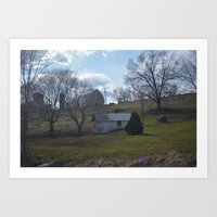 farm Art Prints featuring farm by Dottie