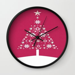 Christmas Tree Made Of Snowflakes On Red Background  Wall Clock