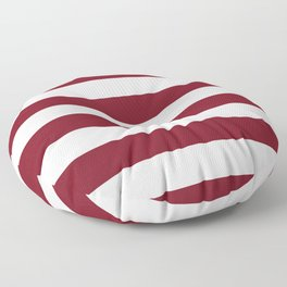 Deep Red Pear and White Wide Horizontal Cabana Tent Stripe Floor Pillow