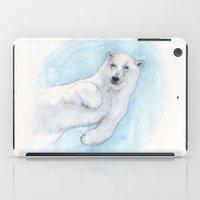 polar bear iPad Cases featuring Polar bear underwater by Savousepate