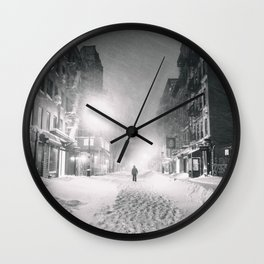 Alone in a Blizzard - New York City Wall Clock