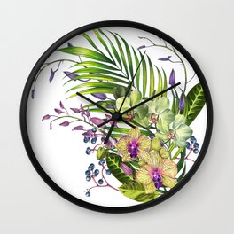 Bouquet, Orchid, Bud, Leaf Clipart, watercolor, handpainted, floral, flower, design, style, troical Wall Clock