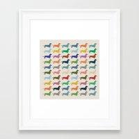 dachshund Framed Art Prints featuring Dachshund by Opul