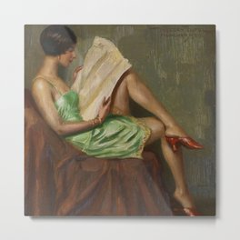 The Morning News, Jazz Age female portrait painting by Hans Hassenteufel Metal Print