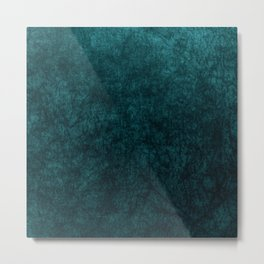 Teal Blue Velvet Texture Metal Print