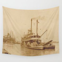 Vintage Steamboat Photographic Print Wall Tapestry