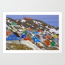 Colourful Houses in Western Greenland Art Print