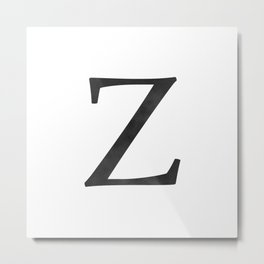 Letter Z Initial Monogram Black and White Metal Print