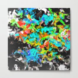 psychedelic splash painting abstract texture in blue orange yellow green black Metal Print