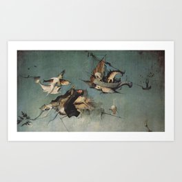 Hieronymus Bosch flying ships and creatures Art Print
