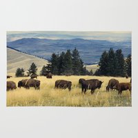 parks and recreation Area & Throw Rugs featuring National Parks Bison Herd by BravuraMedia