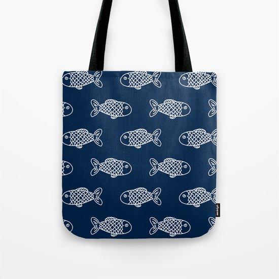 Nautical fish cute simple minimal basic ocean pattern nursery gender nuetral Tote Bag