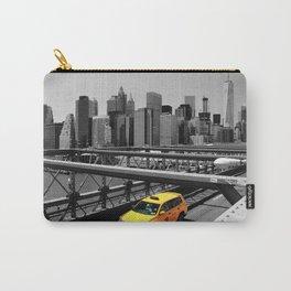 Yellow cab on Brooklyn Bridge, Manhattan, New York, USA. Carry-All Pouch