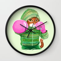 boxing Wall Clocks featuring BOXING CAT 4 by Tummeow