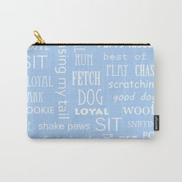 Modern pastel blue white dog typography pattern Carry-All Pouch