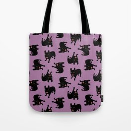 Say hello to the cute all black brindle French Bulldog puppy Tote Bag