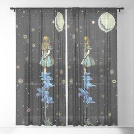 Wonderland Sky Viewing Time - Alice In Wonderland Sheer Curtain