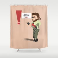 metal gear solid Shower Curtains featuring Metal Gear Solid Venom Snake by Eduardo Cibrián