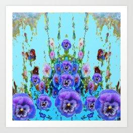 MODERN BLUE WESTERN GARDEN  PURPLE PANSY FLOWERS Art Print