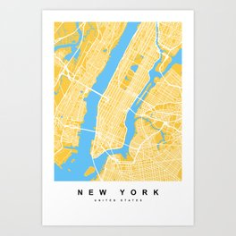 New York Map | Yellow & Blue Colors Art Print