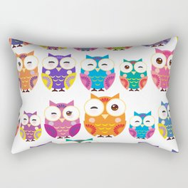 pattern - bright colorful owls on white background Rectangular Pillow