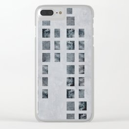 Moody Blue Check Print Clear iPhone Case