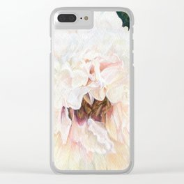 White Peony Watercolor Botanical Art Clear iPhone Case