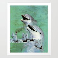 dolphins Art Prints featuring Dolphins by Anna Hollings