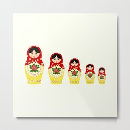 Red russian matryoshka nesting dolls Metal Print