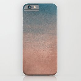 Abstract peacock blue coral ombre watercolor iPhone Case