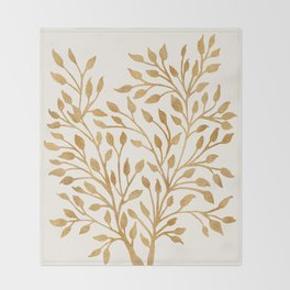 Golden Ficus Tree Throw Blanket