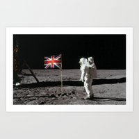 british flag Art Prints featuring British Flag on the Moon by Dan Levin's Objects of Curiosity