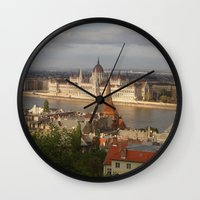 budapest Wall Clocks featuring Budapest by Karina Shah