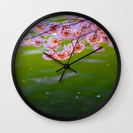 Mid Century Modern Round Circle Photo Graphic Design Pink Japanese Blossoms Over Green Pond Wall Clock