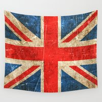 british flag Wall Tapestries featuring Vintage Aged and Scratched British Flag by Jeff Bartels