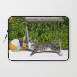 Vacation Time - Beach Bum Kitty Laptop Sleeve