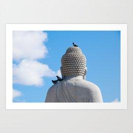 Buddha and the birds Art Print