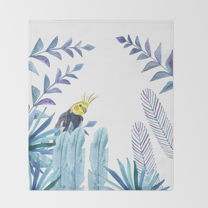 Cockatiel with tropical foliage Throw Blanket