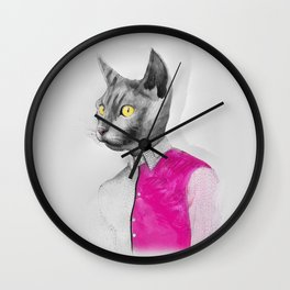 Cat Man Pink Wall Clock