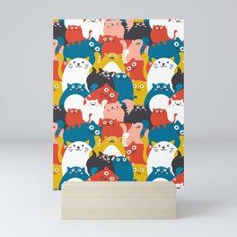Cats Crowd Pattern Mini Art Print