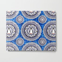 Blue Sparkle Holiday Penguin Mandala Textile Metal Print